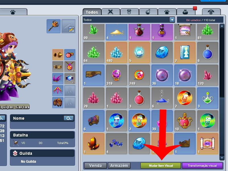 Abra o menu de customização visual (Imagem: Reprodução/Grand Chase)