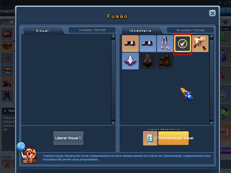 Selecione o item que deseja transformar (Imagem: Reprodução/Grand Chase)