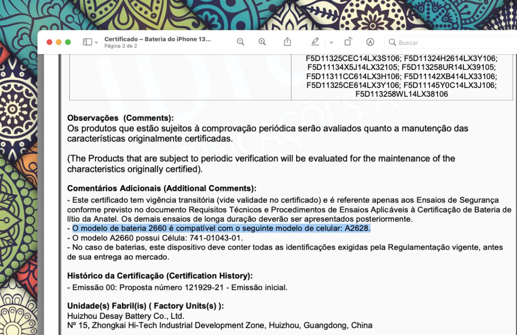 Certificado de conformidade da bateria do iPhone 13 Mini (Imagem: Reprodução/Tecnoblog)
