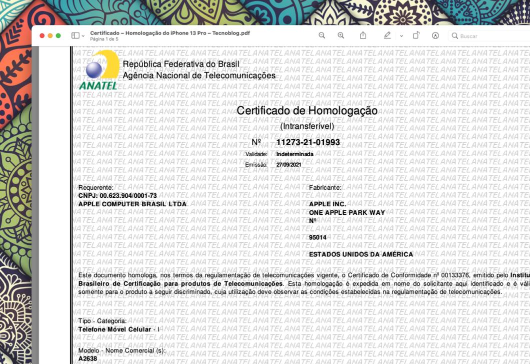 Certificado de homologação do iPhone 13 Pro (Imagem: Reprodução/Tecnoblog)