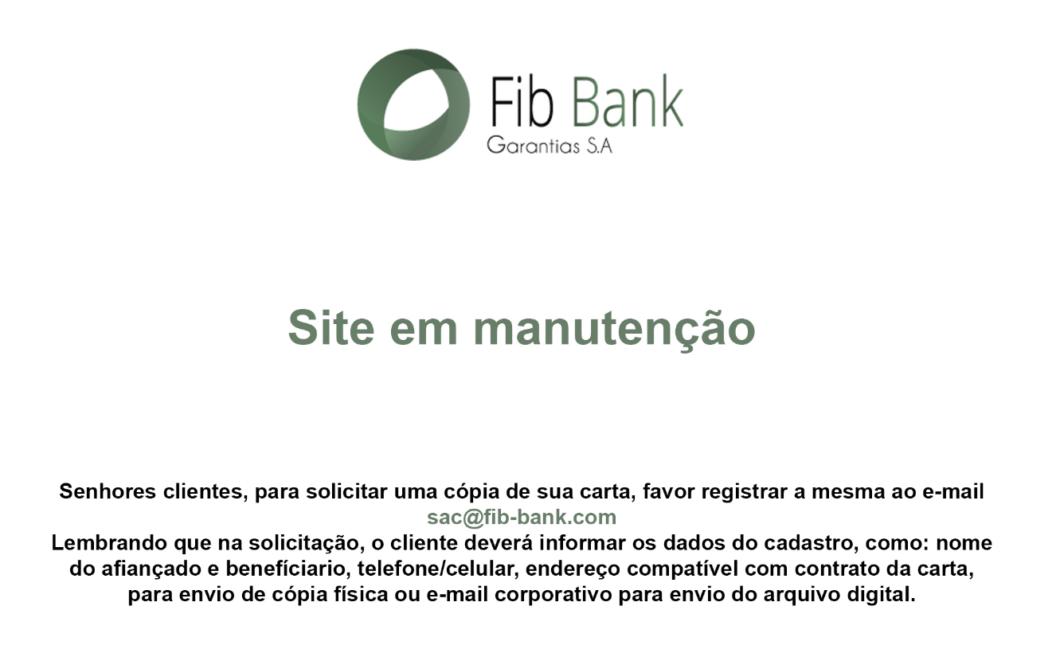 Imagem publicada no site do FIB Bank após ataque hacker