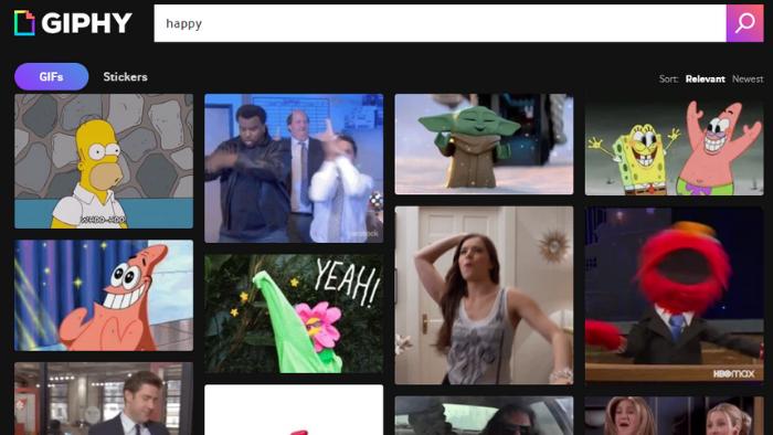 Os GIFs tornam os conteúdos, principalmente nas redes sociais, mais divertidos e interativos. (Imagem: Reprodução / GIPHY)