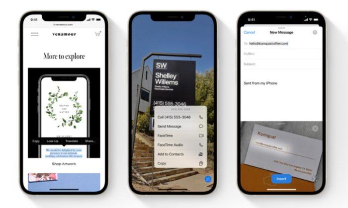 Reconhecimento de texto no iOS 15 (imagem: reprodução/Apple)
