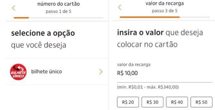 Nova opção de recarga do Bilhete Único no <a href='https://meuspy.com'>app</a> do Itaú em São Paulo (Imagem: Reprodução)