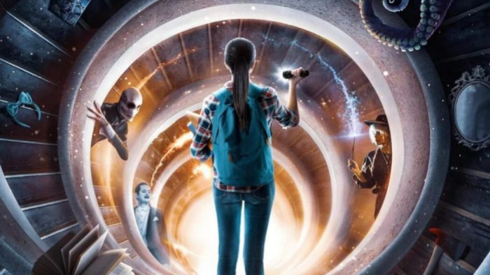 girl in a portal with several images representing the supernatural