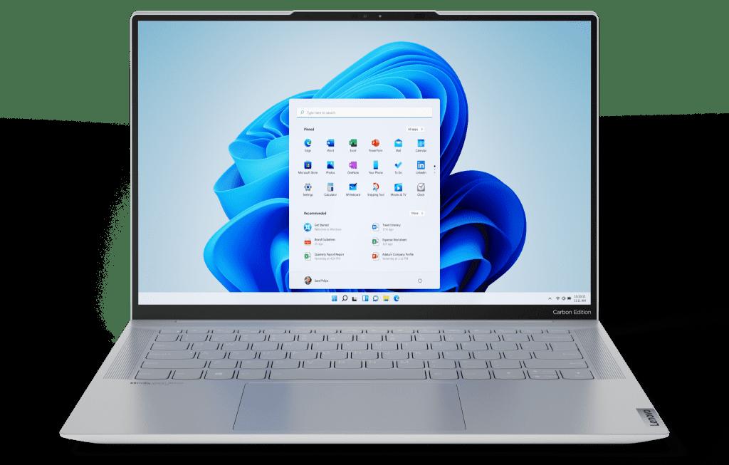 Lenovo Yoga Slim 7 Carbon e Yoga Slim 7 Pro vêm com Windows 11 de fábrica (Imagem: Divulgação/Lenovo)