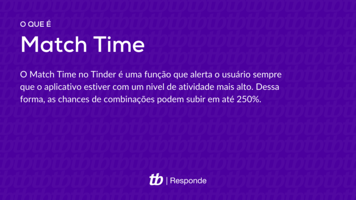 O que é Match Time?O Match Time no Tinder é uma função que alerta o usuário sempre que o aplicativo estiver com um nível de atividade mais alto. Dessa forma, as chances de combinações podem subir em até 250%.