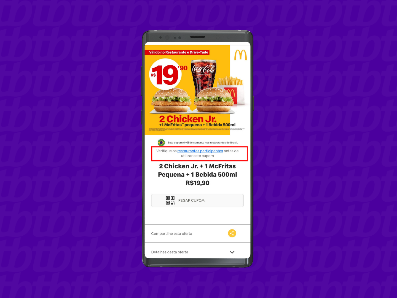 Confirme a disponibilidade do cupom (Imagem: Reprodução/McDonald's)