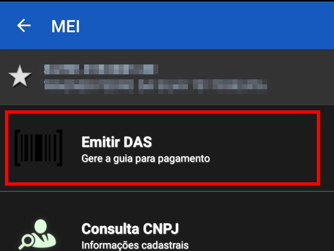 """Toque em """"Emitir DAS"""" para continuar (Imagem: Reprodução/App MEI)"""