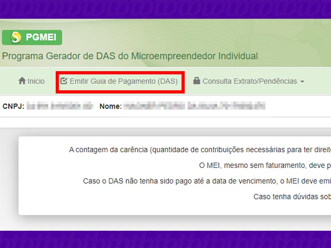 Clique na opção para exibir as DAS disponíveis (Imagem: Reprodução/PGMEI)