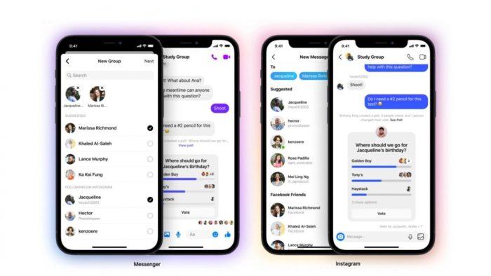 Bate-papos em grupo e enquetes no Messenger e no Instagram (Imagem: Divulgação/ Facebook)