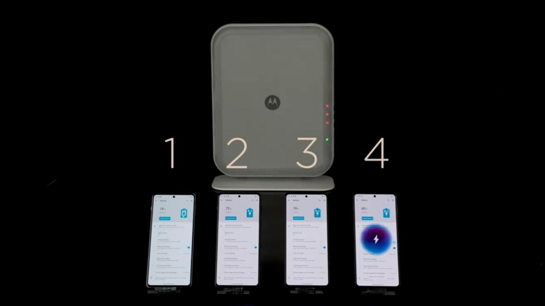 Motorola Space Charging carrega até quatro <a href='https://meuspy.com/tag/Espione-celulares'>celulares</a> à distância (Imagem: Reprodução/Weibo)