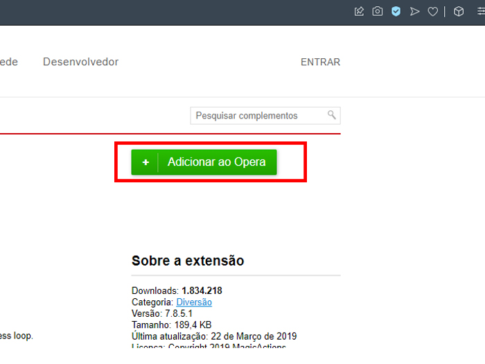 """Clique em """"Adicionar ao Opera"""" para concluir (Imagem: Reprodução/Opera)"""