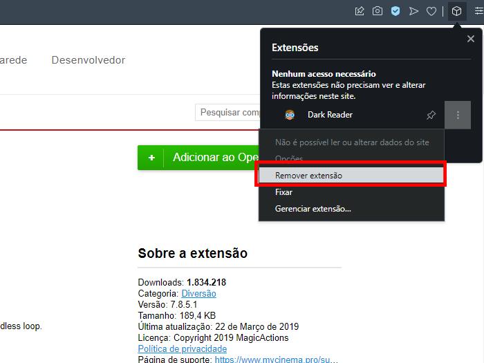 Processo para remover uma extensão do Opera (Imagem: Reprodução/Opera)