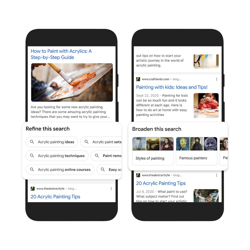 Busca do Google mostra formas de refinar ou expandir os resultados com base no que os outros usuários procuram