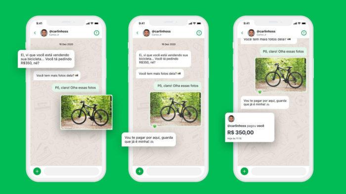 Demonstração do novo recurso de envio de fotos através do chat do PicPay (Imagem: Divulgação/ PicPay)