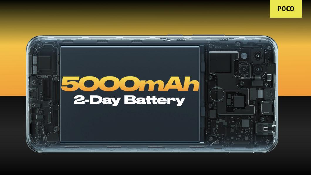 Poco C31 tem bateria de 5.000 mAh (Imagem: Divulgação/Xiaomi)