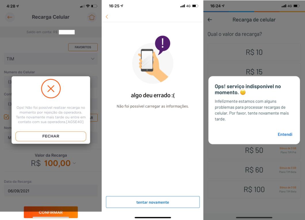 Tentativa de recarga em celular pré-pago da TIM falha através do Banco Inter, Itaú e RecargaPay (Imagem: Reprodução)