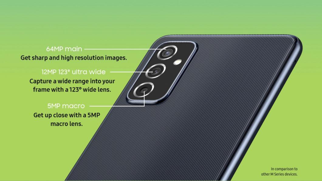 Galaxy M52 5G tem câmera tripla de 64 megapixels (Imagem: Divulgação/Samsung)
