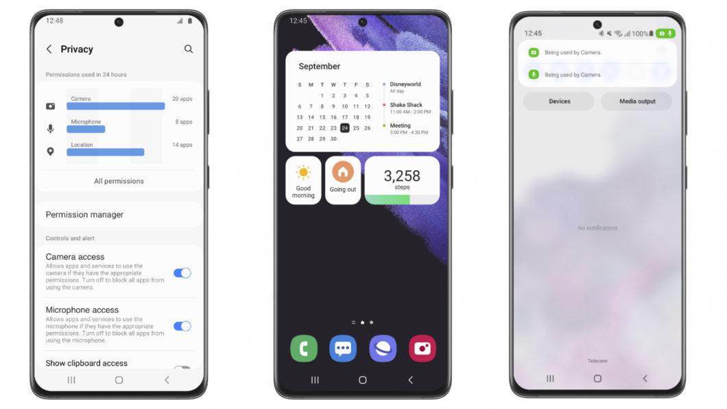 One UI 4 Beta com Android 12 em um Galaxy S21 (Imagem: Divulgação/Samsung)