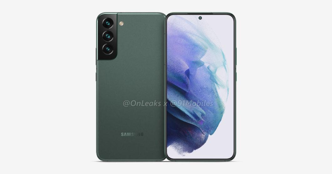 Possível Samsung Galaxy S22+ (Imagem: Reprodução/OnLeaks/91Mobiles)