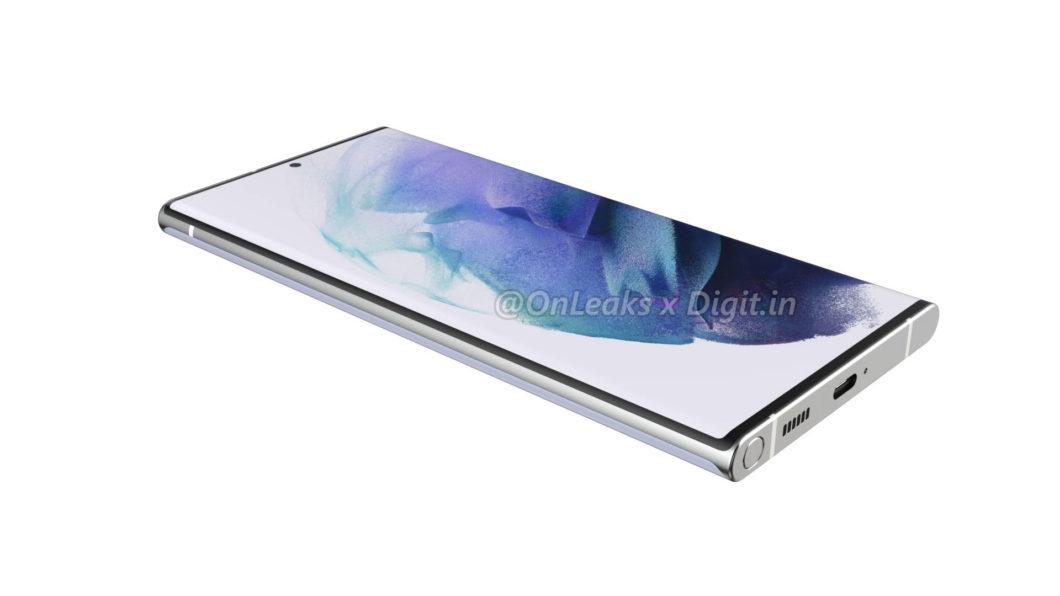 Samsung Galaxy S22 Ultra pode ter espaço para guardar caneta S Pen (Imagem: Reprodução/OnLeaks/Digit)
