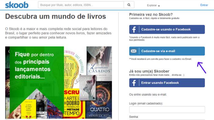 """imagem da página para criar conta no skoob com o texto """"descubra um mundo de livros"""""""