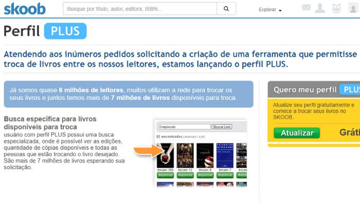 imagem da página plus troca do skoob com o passo a passo de como fazer trocas pela rede social