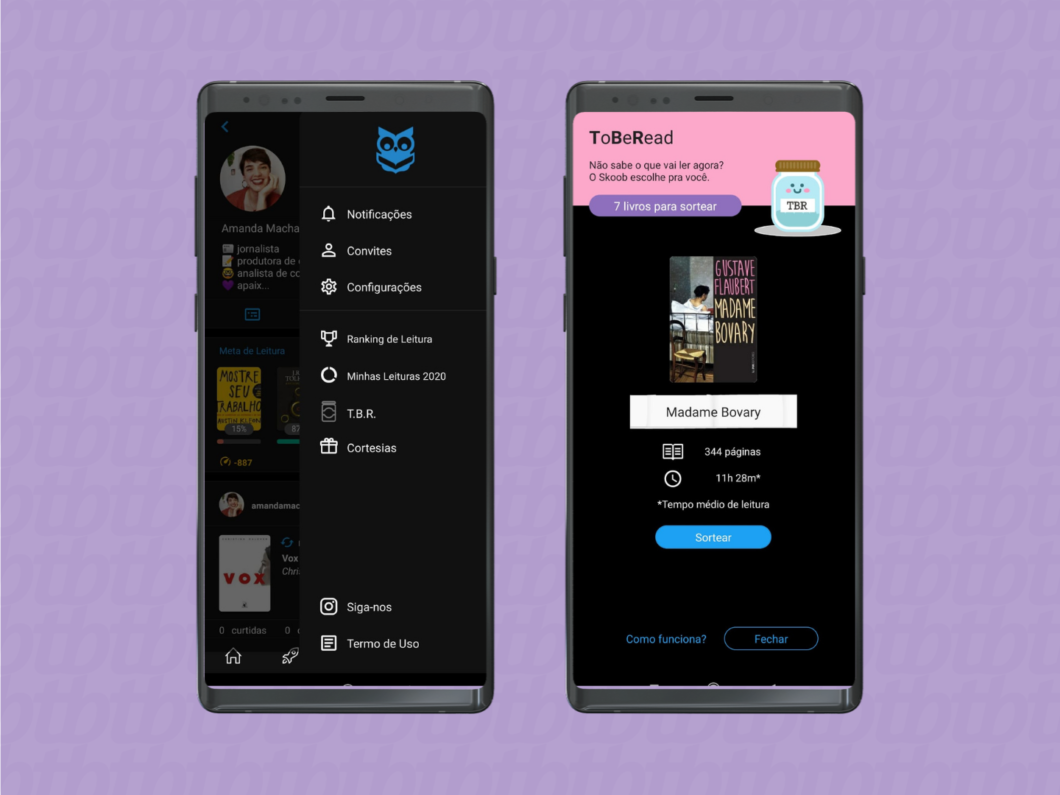 imagem da funcionalidadr t.b.r no aplicativo do skoob para sortear próximas leituras