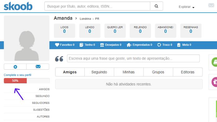 imagem do perfil criado no skoob com algumas funcionalidades que a rede social oferece