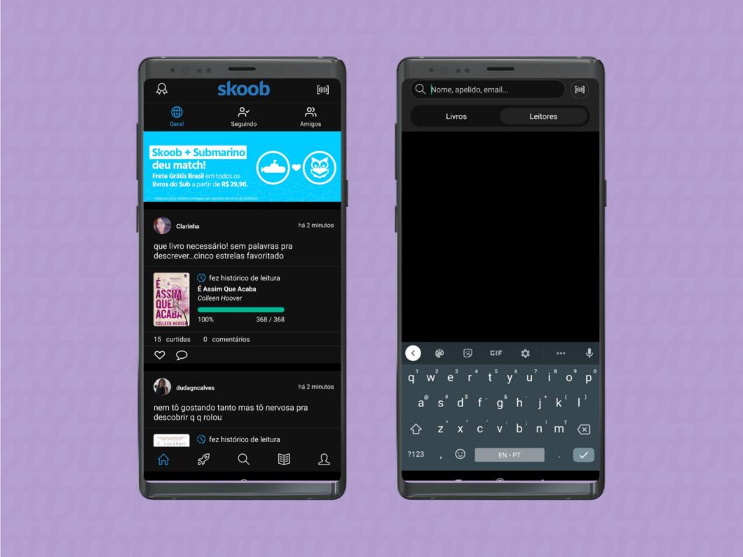 imagem de duas telas do aplicativo do skoob mostrando o feed e a barra de pesquisa