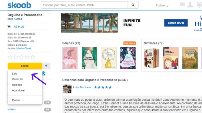 imagem de uma página oficial de um livro com destaque para a forma como você pode marcar uma obra na estante