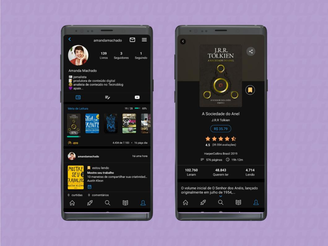 imagens do aplicativo do skoob mostrando como registrar o histórico de uma leitura