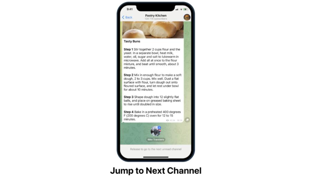 Telegram inclui gesto para trocar de canal (Imagem: Divulgação)
