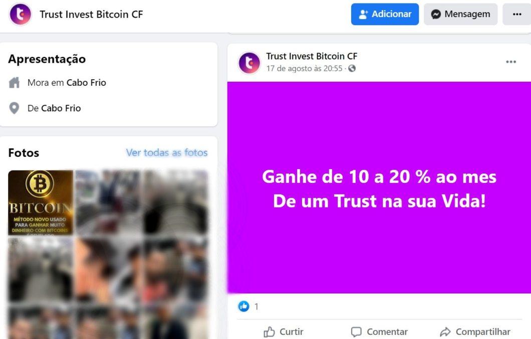 Postagem suposta empresa de investimentos em bitcoin Trust Invest (Imagem: Reprodução/ Facebook)