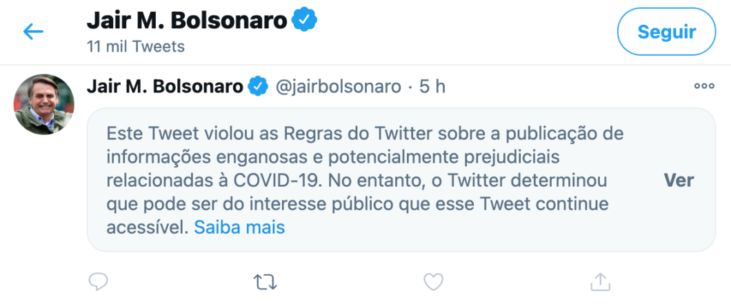 Bolsonaro teve tweet ocultado por conter informações falsas (Imagem: Reprodução/Twitter)