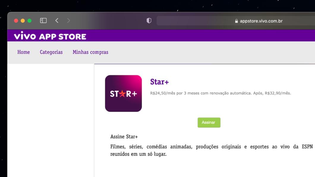 Star+ é comercializado na Vivo App Store (Imagem: Reprodução)