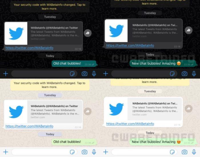 Antes e depois dos balões do WhatsApp no iOS (imagem: WABetaInfo)