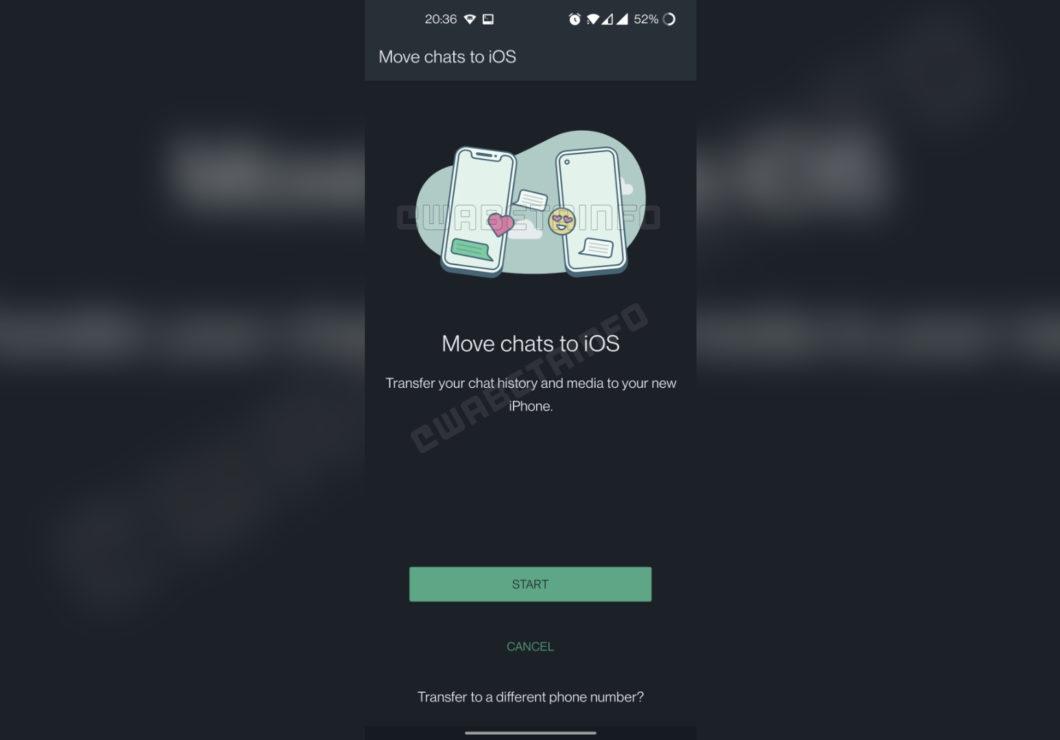 Nova versão do WhatsApp Beta para Android traz rastros de ferramenta para migrar chats para iOS (Imagem: Reprodução/WABetaInfo)