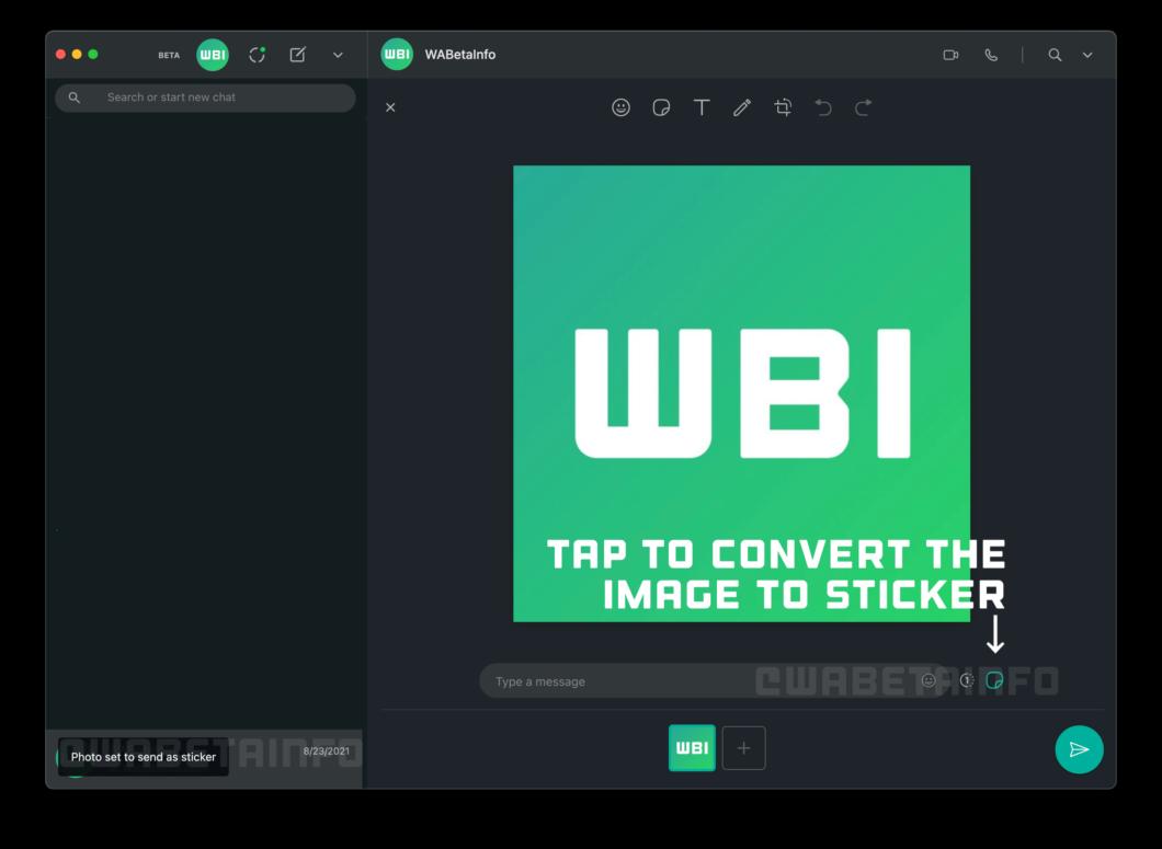 Botão para converter imagem em figurinha (Imagem: Reprodução/WABetaInfo)