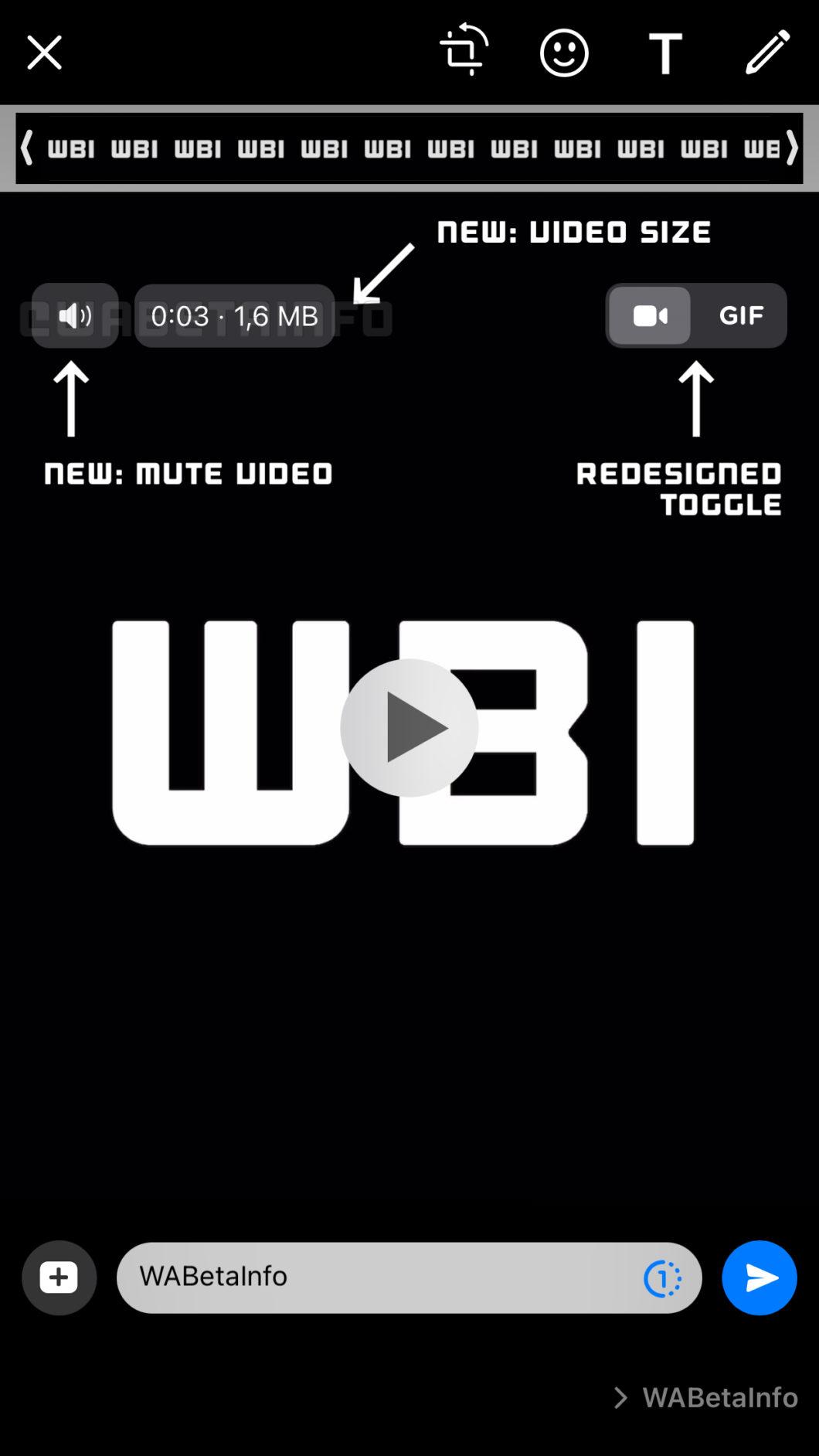 WhatsApp prepara botão para silenciar vídeos no iOS (Imagem: Reprodução/WABetaInfo)