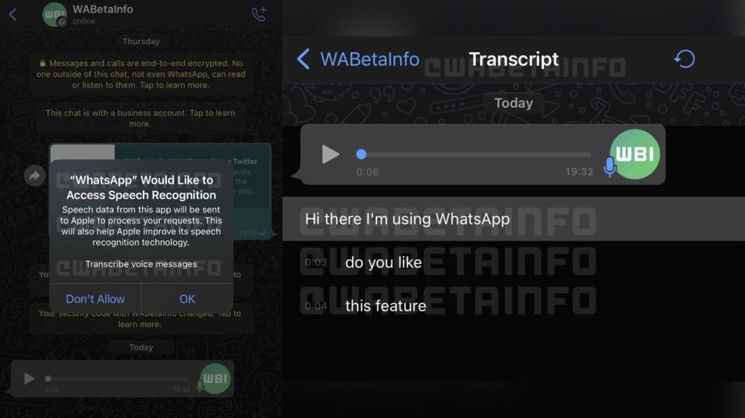 WhatsApp trabalha em ferramenta nativa para transcrição de áudios (Imagem: Reprodução/WABetaInfo)