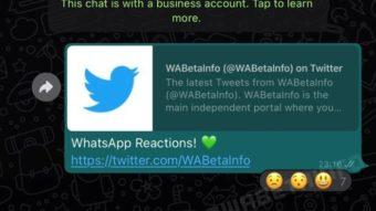 WhatsApp: imagens mostram como reações com emojis vão funcionar
