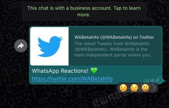 Reações no WhatsApp (imagem original: WABetaInfo)