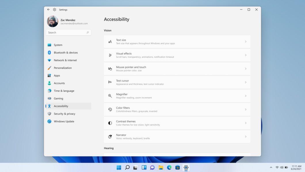 Recursos de acessibilidade do Windows 11 (imagem: divulgação/Microsoft)