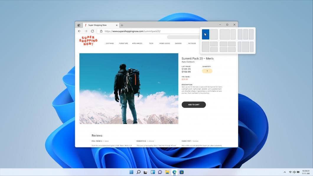 Snap Layouts do Windows 11 (imagem: divulgação/Microsoft)