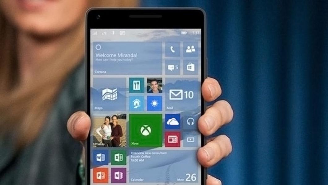 Interface do Windows 10 Mobile (Imagem: Divulgação/Microsoft)