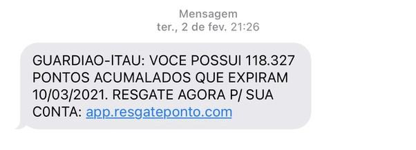 Mensagem falsa alega que pontos do Itaú vencem na semana seguinte