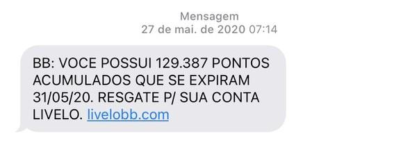 Mensagem falsa alegando que o cliente tem pontos a vencer no Banco do Brasil