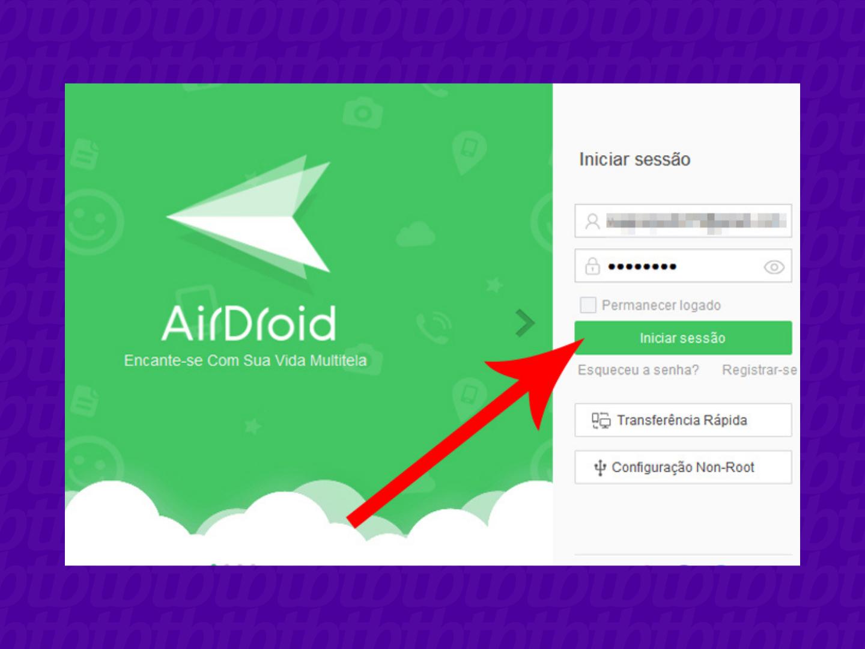 Faça login com sua conta (Imagem: Reprodução/AirDroid)